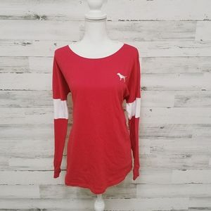 VS Pink Bling Back Long Sleeve Campus Tee
